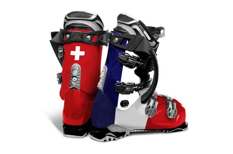 Swiss and French Flag Ski Boots